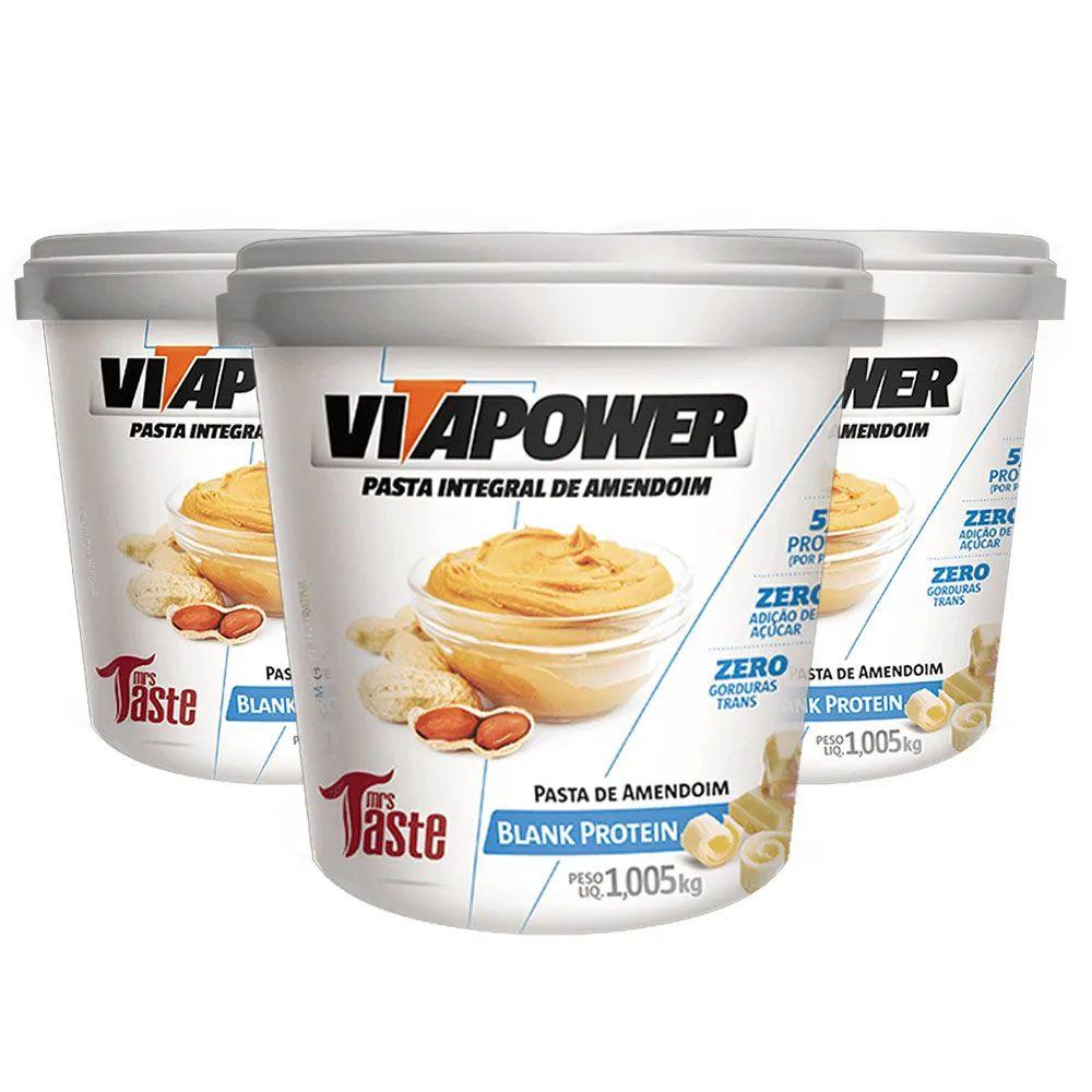 Pasta de Amendoim 1Kg Blank 3 Un Vitapower  - KFit Nutrition