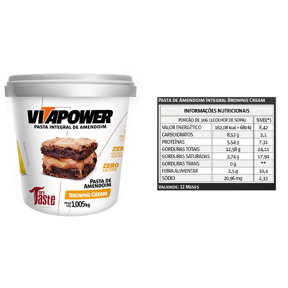 Pasta de Amendoim 1Kg Brownie 2 Un Cream Vitapower  - KFit Nutrition