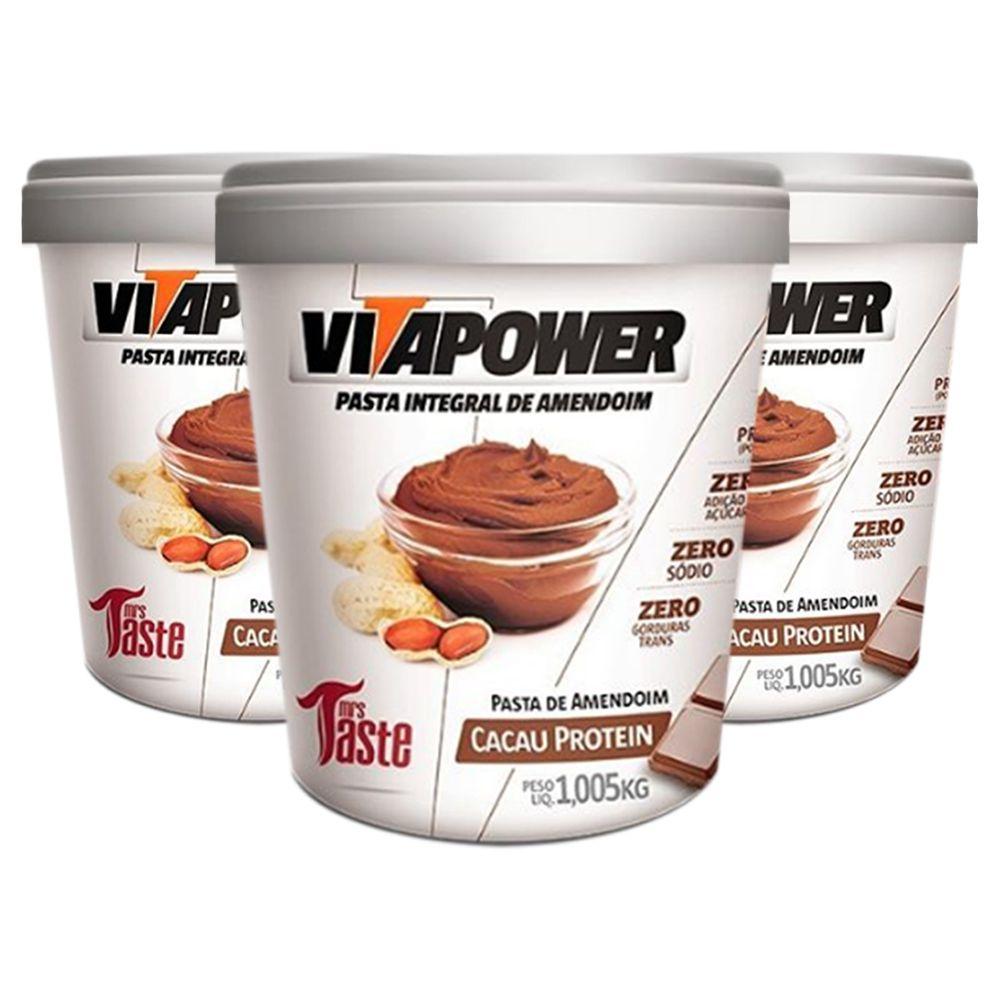 Pasta de Amendoim 1Kg Cacau 3 Un Vitapower  - KFit Nutrition