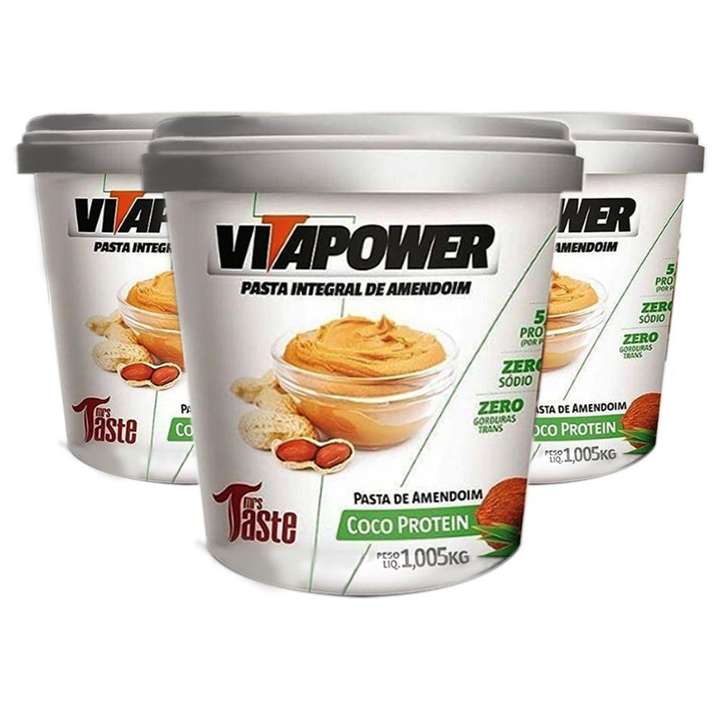 Pasta de Amendoim 1Kg Coco 3 Un Vitapower  - KFit Nutrition