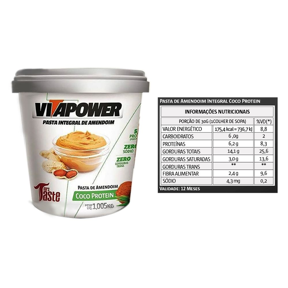 Pasta de Amendoim 1kg Coco Vita Power  - KFit Nutrition