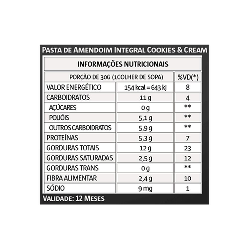 Pasta de Amendoim 1kg Cookies Vita Power 3Un  - KFit Nutrition