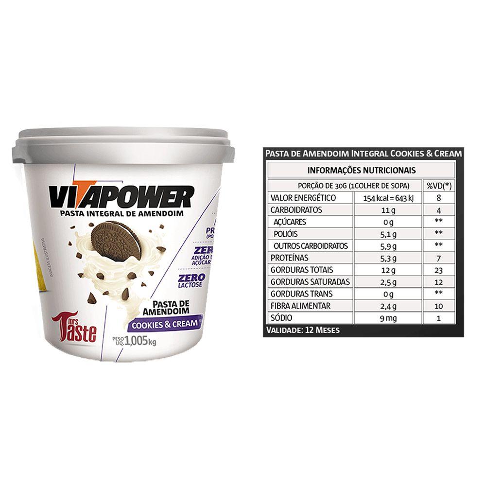 Pasta de Amendoim 1kg Cookies Vita Power 4 Un  - KFit Nutrition