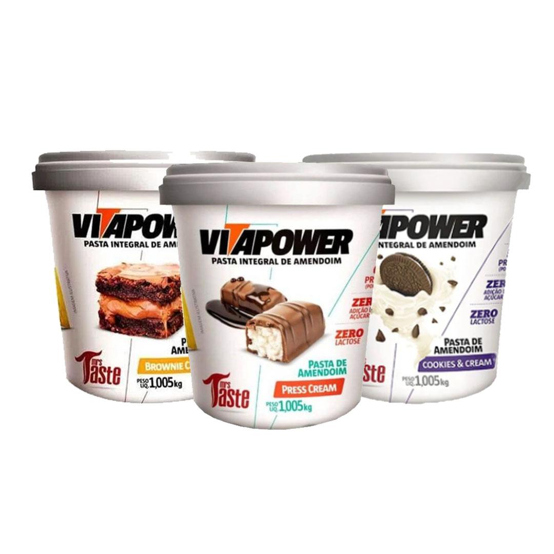 Pasta de Amendoim 1kg Press Cream Vita Power e Pasta de Amendoim 1kg Cookies Vita Power e Pasta de Amendoim 1kg Brownie Vita Power  - KFit Nutrition