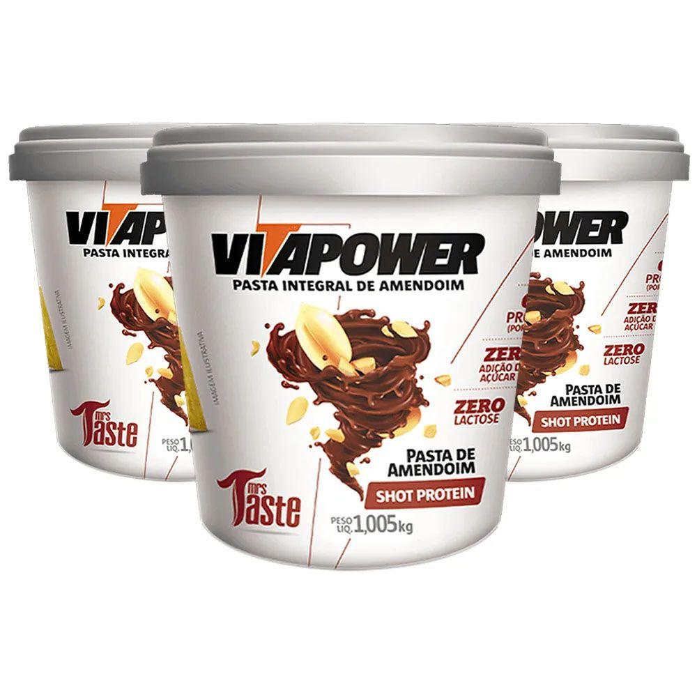 Combo 3 Un Pasta de Amendoim 1kg Shot Vitapower  - KFit Nutrition