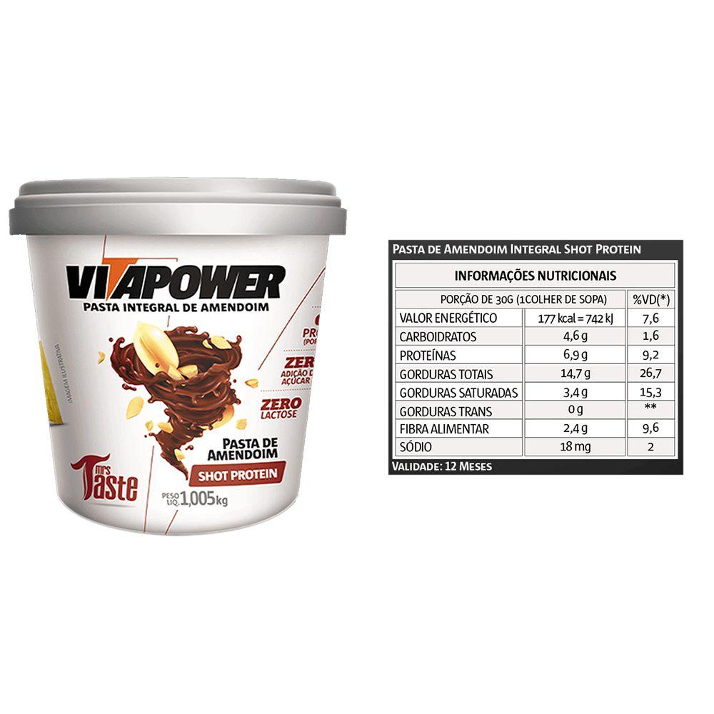 Pasta de Amendoim 1kg Shot Vita Power 4 Un  - KFit Nutrition