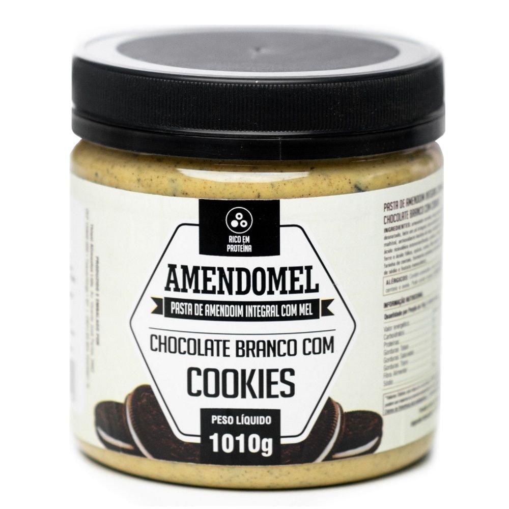 Pasta de Amendoim Amendomel 1Kg Choc Branco com Cookies  - KFit Nutrition