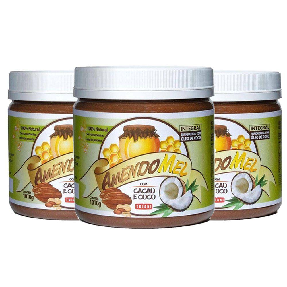 Pasta de Amendoim Amendomel Cacau e Coco 1 Kg 3 Un  - KFit Nutrition