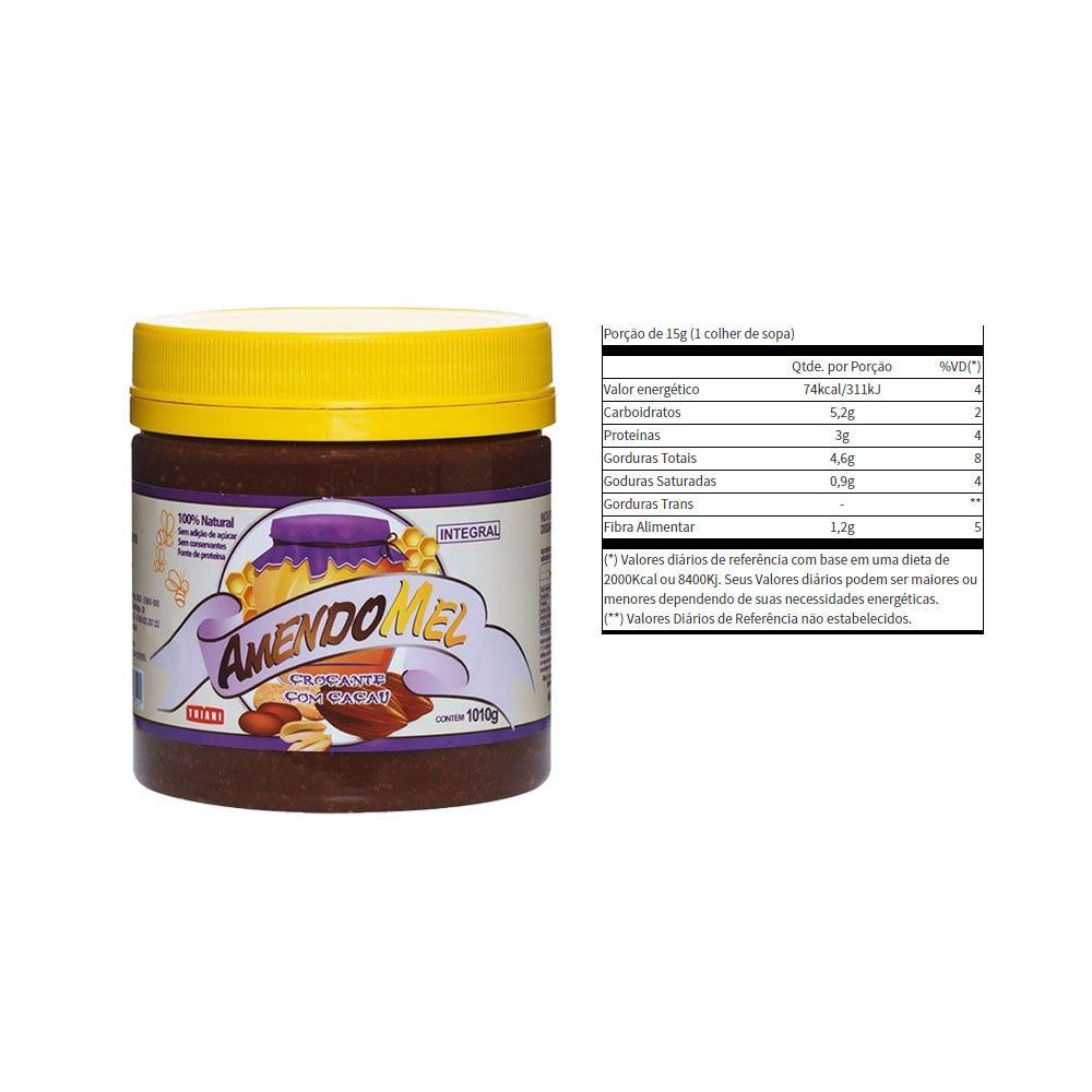 Pasta de Amendoim Amendomel Crocante e Cacau 1 Kg 3 Un  - KFit Nutrition