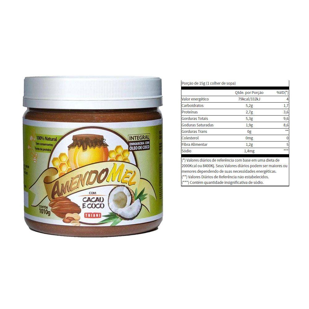 Pasta de Amendoim Amendomel Cacau e Coco 1 Kg 4 Un  - KFit Nutrition