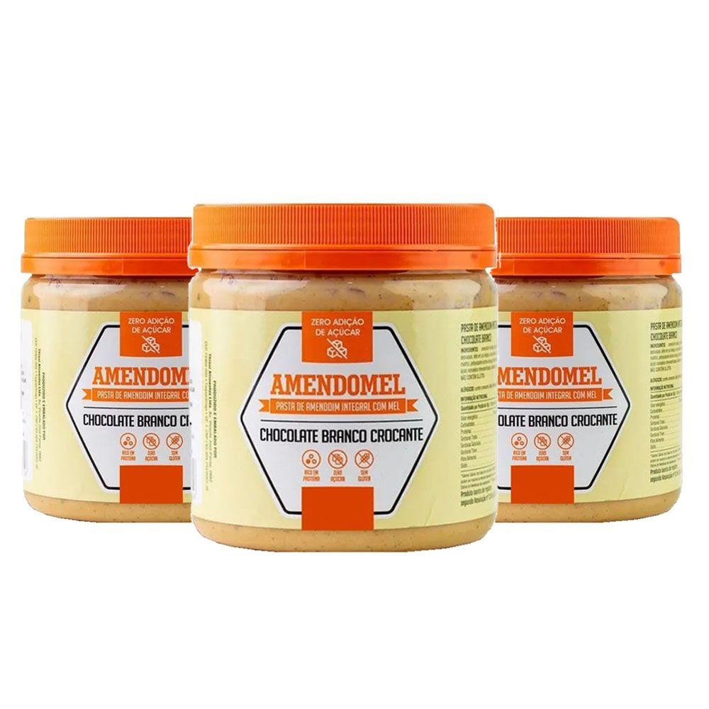 Pasta de Amendoim Integral 1Kg Choc Branco Crocante 3 Un  - KFit Nutrition