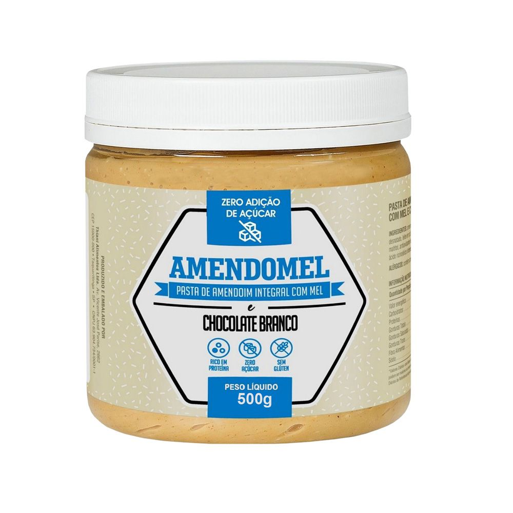 Pasta de Amendoim Integral Com C/ Mel Chocolate Branco 500g  - KFit Nutrition