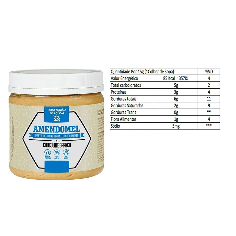 Pasta de Amendoim Integral Com Chocolate Branco 1Kg 4 Un  - KFit Nutrition
