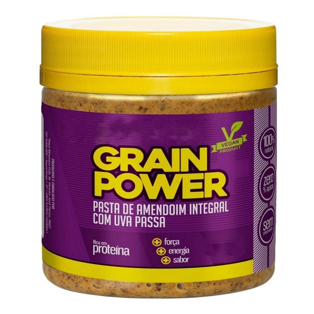 Pasta de Amendoim Integral Com Uva Passa 500g - Grain Power  - KFit Nutrition