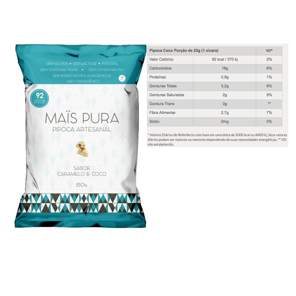 Pipoca Artesanal 150g Caramelo e Coco 5 Un - Mais Pura  - KFit Nutrition
