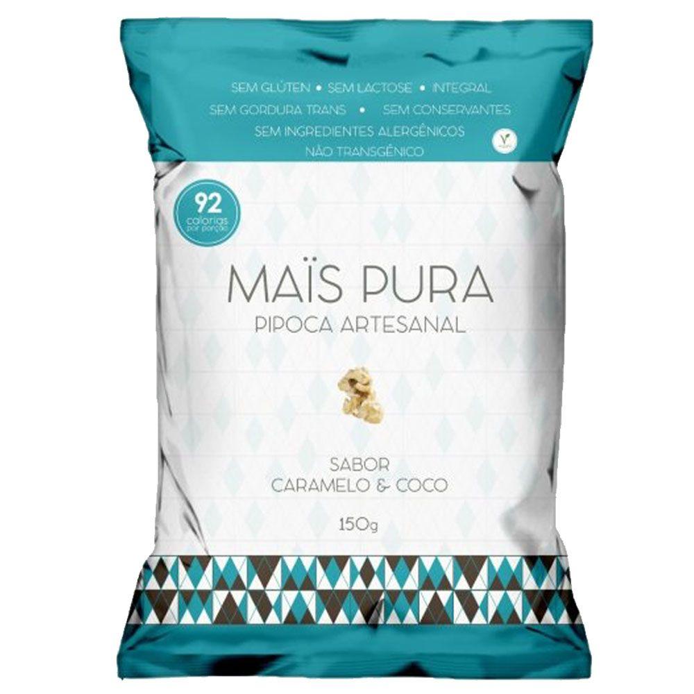 Pipoca Artesanal 150g Caramelo e Coco - Mais Pura  - KFit Nutrition
