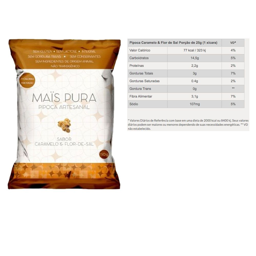 Pipoca Artesanal 150g Caramelo e Flor de Sal 5 Un -Mais Pura  - KFit Nutrition