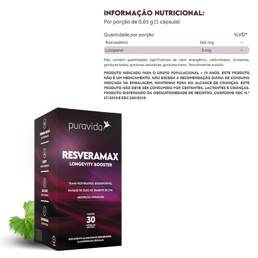 Resveramax 30 Caps - Puravida  - KFit Nutrition