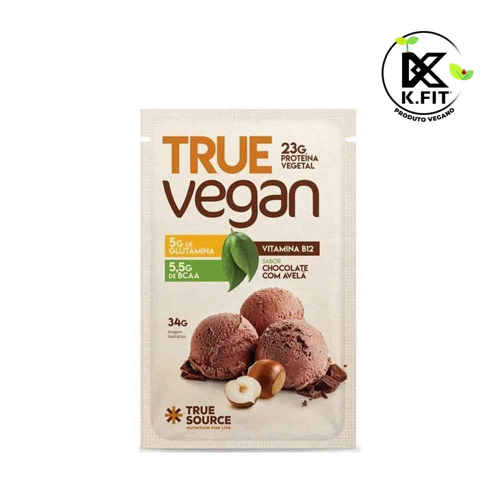 Sachê True Vegan Chocolate com Avelã 32g  - KFit Nutrition