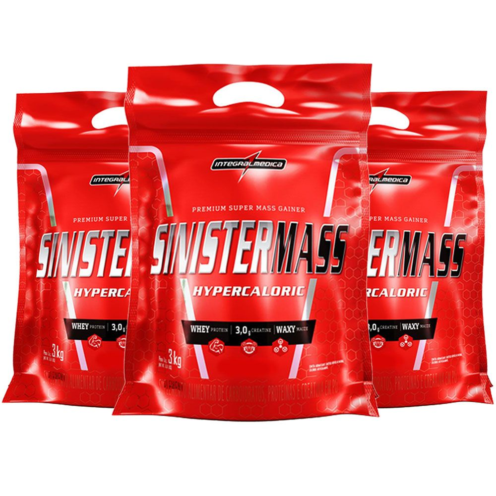 Sinister Mass 3Kg Chocolate 3 Un  - Integral Medica  - KFit Nutrition