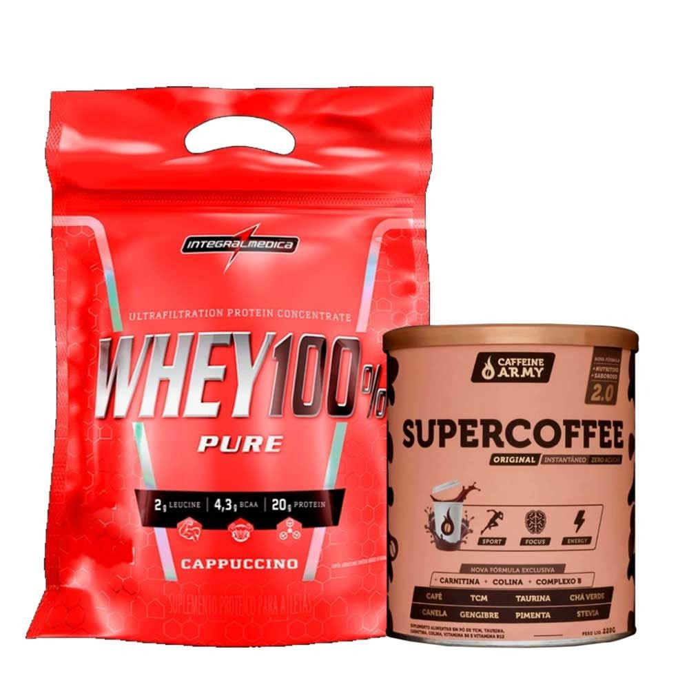 Super Whey 100% 900g Cappuccino + Supercoffee 2.0 220g  - KFit Nutrition