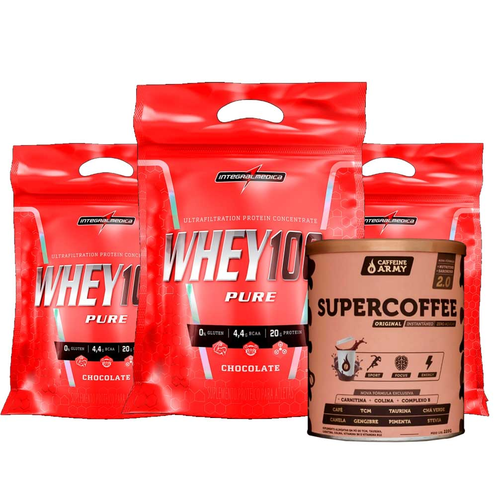 Super Whey 100% 900g Chocolate 3 Un + Supercoffee 2.0 220g  - KFit Nutrition