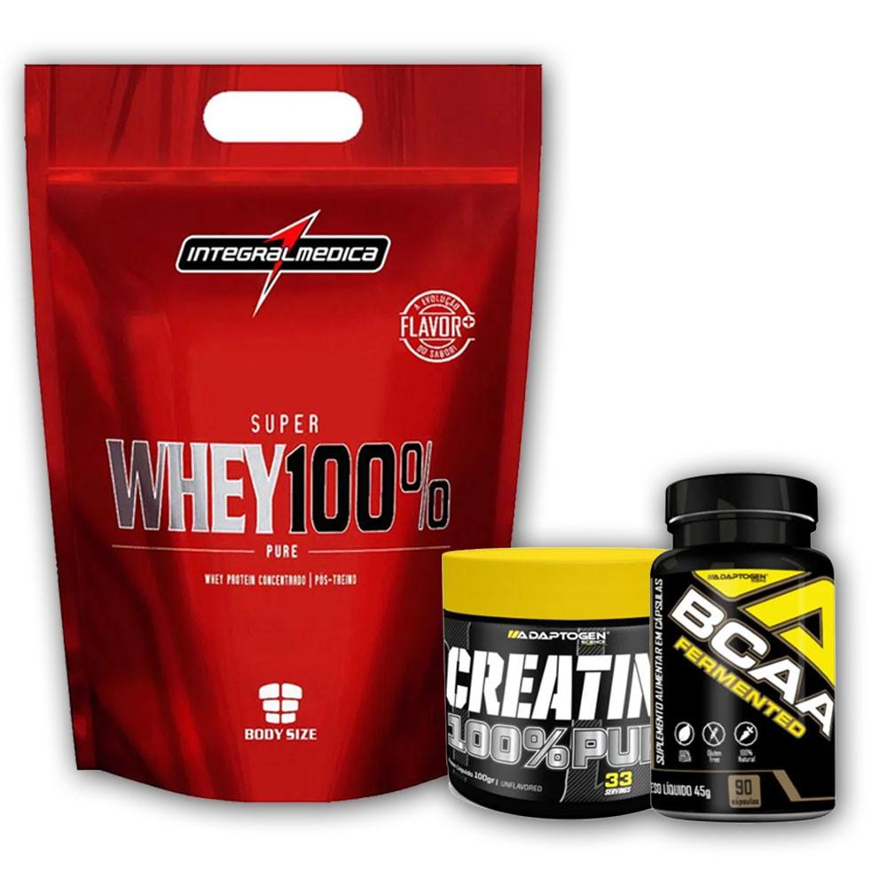 Super Whey 100% 900g Chocolate + Creatina 100g + Bcaa 90 C  - KFit Nutrition