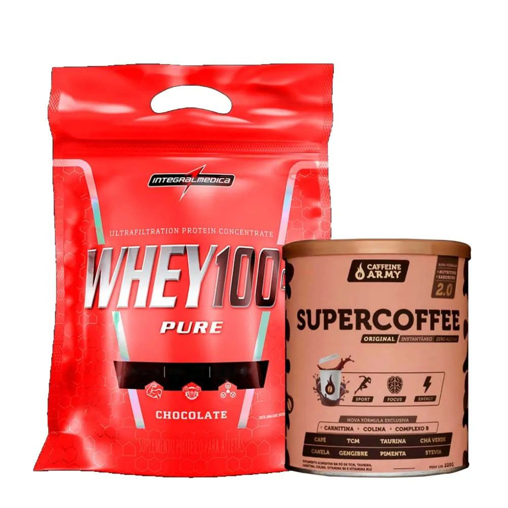 Super Whey 100% 900g Chocolate + Supercoffee 2.0 220G  - KFit Nutrition