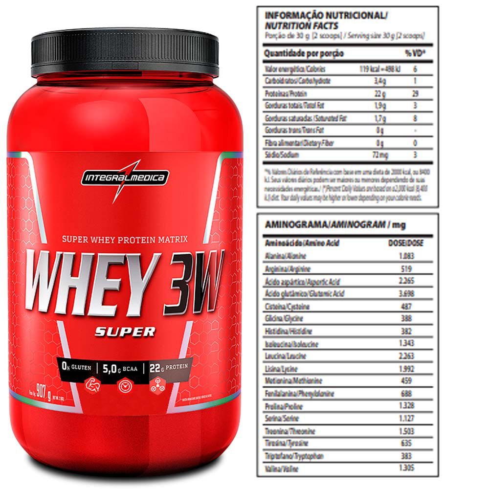 Super Whey 3W 900g Baunilha + Creatine 100% Pure 100g  - KFit Nutrition