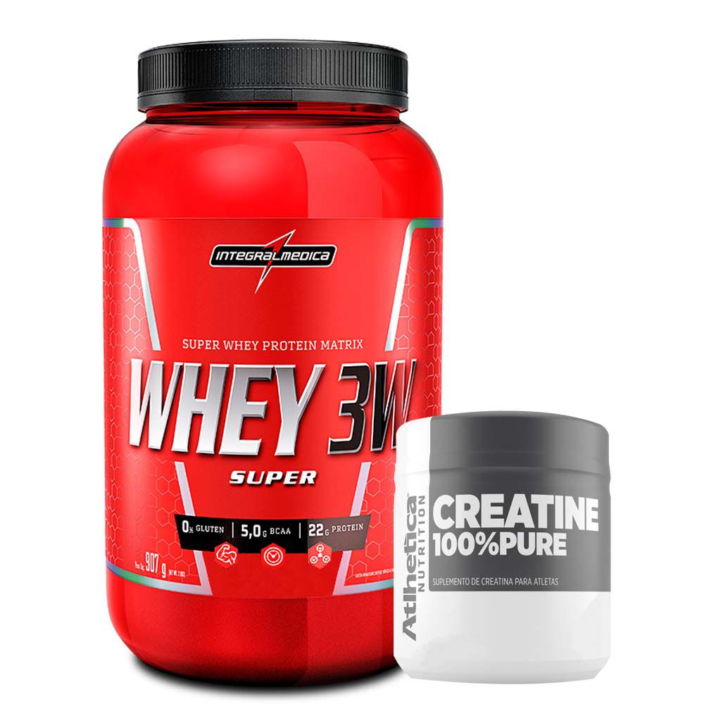 Super Whey 3W 900g Morango + Creatina 100% Pure 100g  - KFit Nutrition