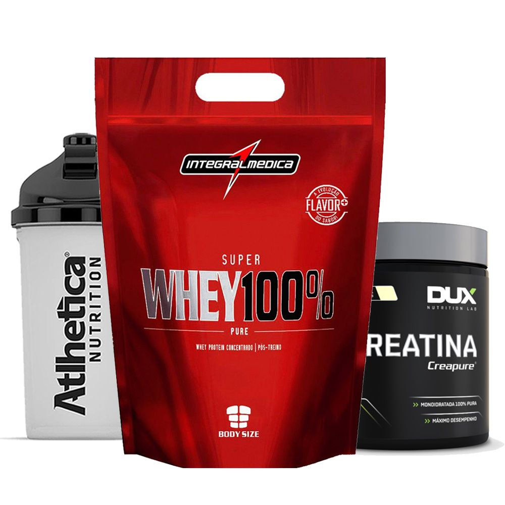 Super Whey 900g Chocolate +Creatina 300g Dux  + Bottle 500ml  - KFit Nutrition
