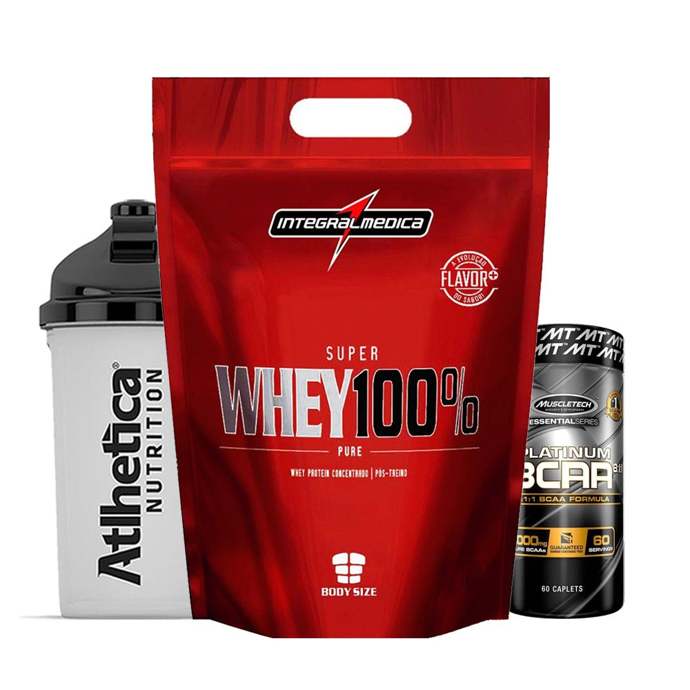 Super Whey 900g Morango + Bcaa Platinum 60 Caps  + Bottle  - KFit Nutrition