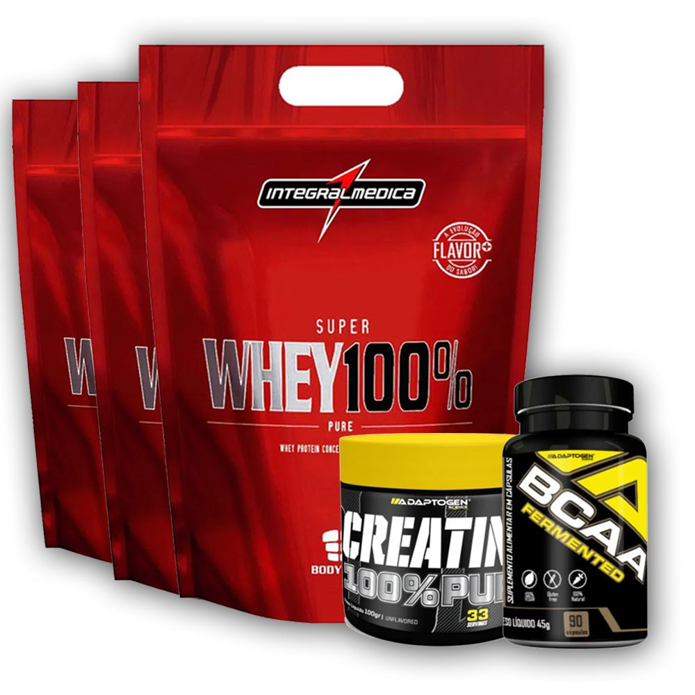 Super Whey 900g Morango + Creatina 100g + Bcaa 90 Caps  - KFit Nutrition