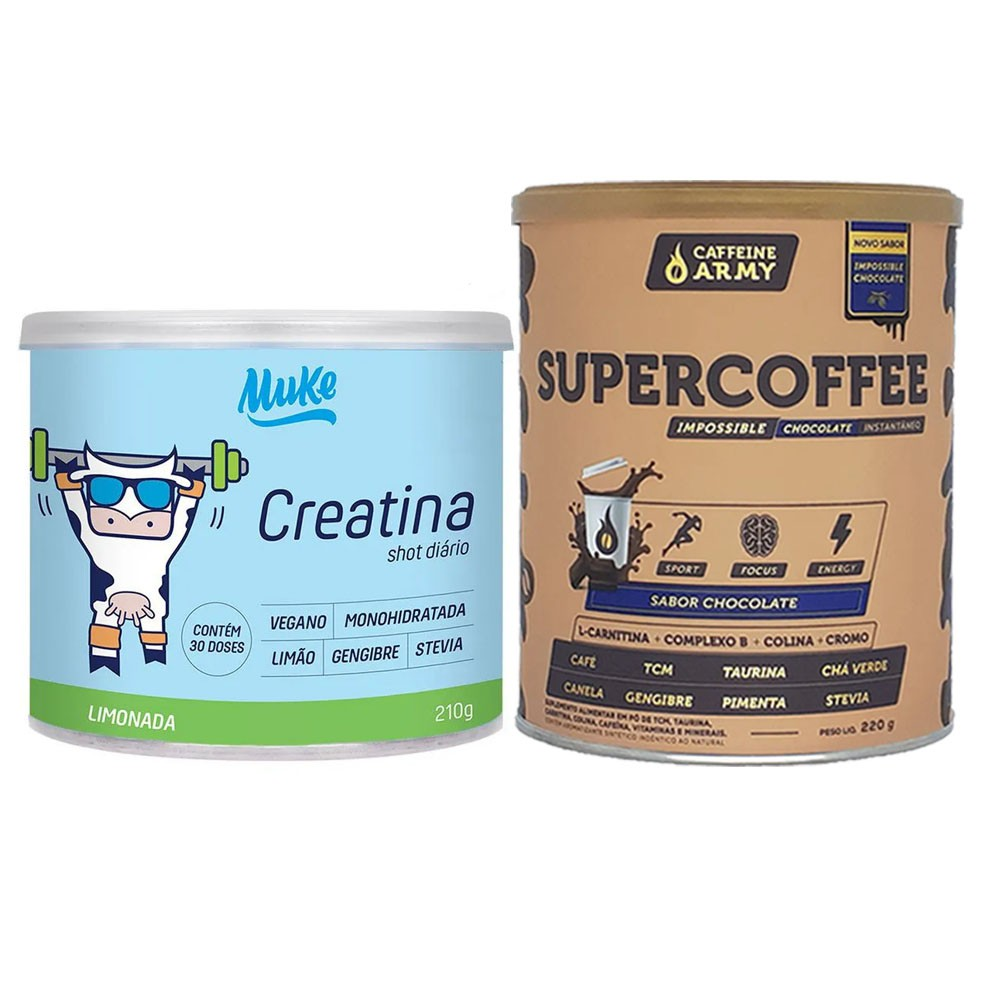 Supercoffee 220g Chocolate e Creatina Vegana Mais Mu 210g  - KFit Nutrition