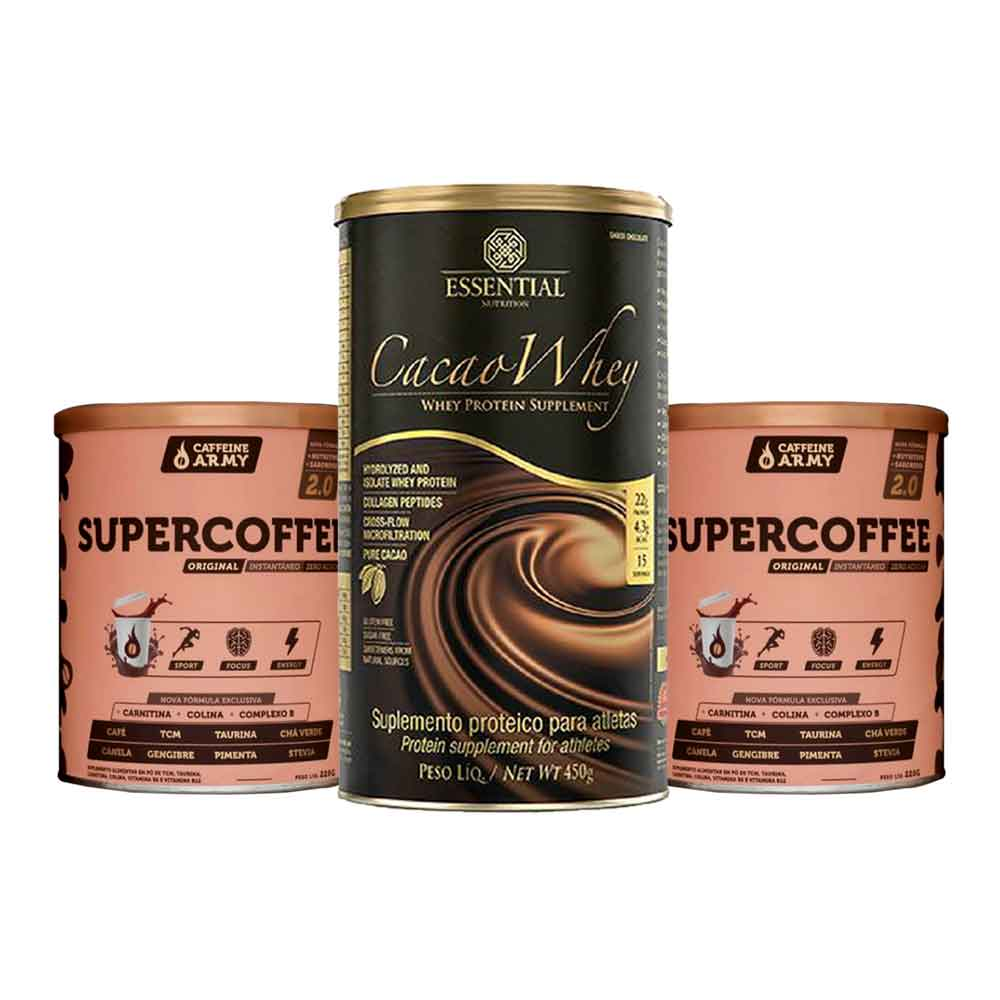 Supercoffee 2.0 220g 2un + Cacao Whey 450g  - KFit Nutrition