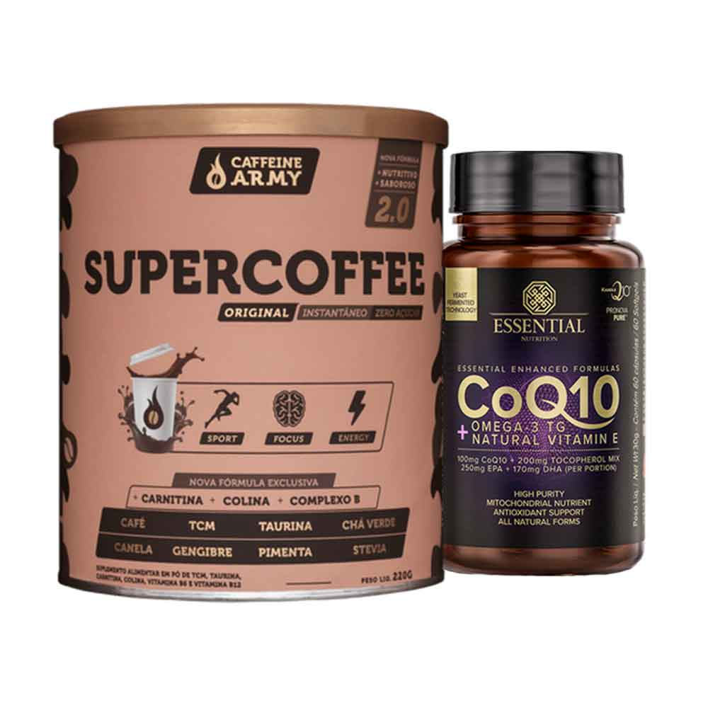 Supercoffee 2.0 220G- Caffeine Army e COQ10 Omega 3  + Natural Vitamin E 60 Caps- Essential  - KFit Nutrition