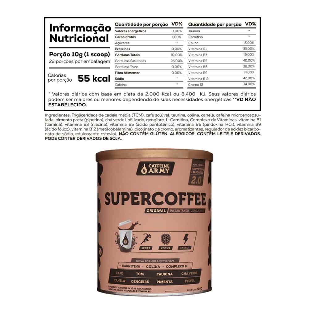 Supercoffee 2.0 220G Caffeinee Army e 1 Sachê de Supercoffee To Go Impossible Chocolate  - KFit Nutrition