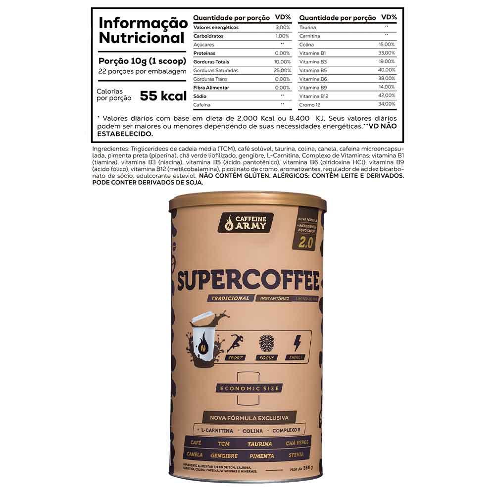 Supercoffee 2.0 Economic Size 380g - Latão Caffeine Army e Supercoffee Vanilla Latte 220g - Caffeine Army  - KFit Nutrition