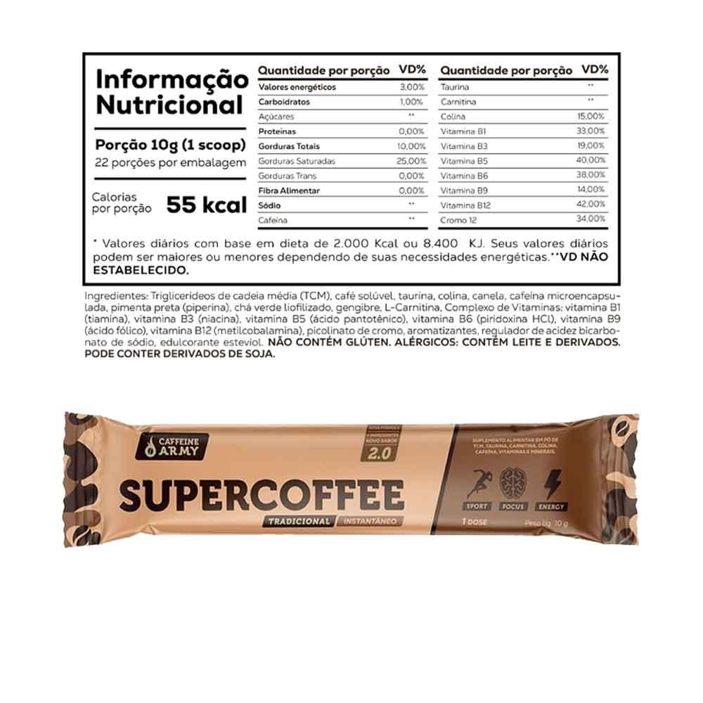 Supercoffee Chocolate 220g Caffeinee Army + 1 Sachê de Supercoffee To Go 2.0  - KFit Nutrition