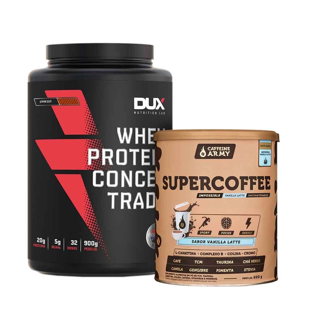 Supercoffee Vanilla 220g e Whey Concentrado Dux Cookies 900g  - KFit Nutrition