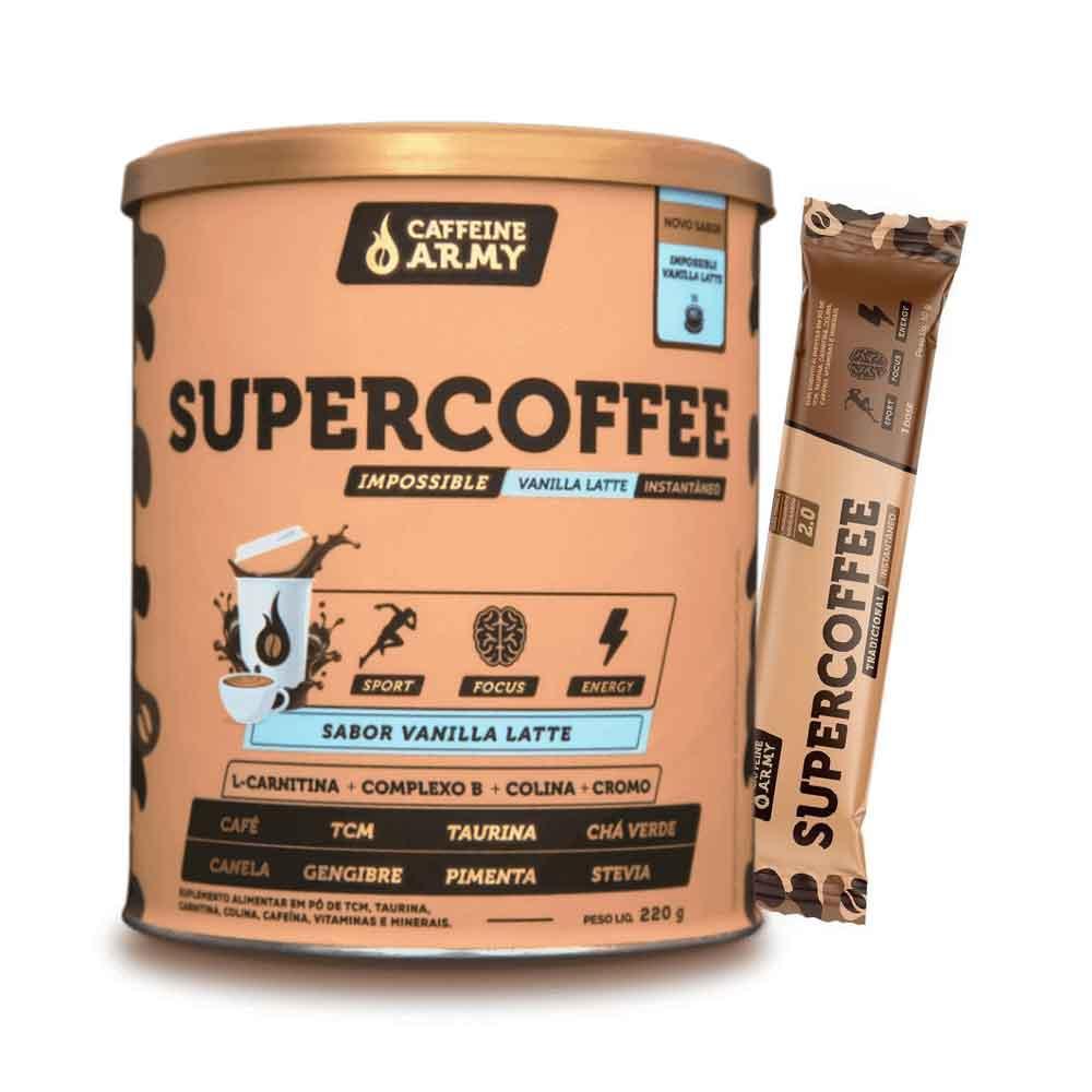 Supercoffee Vanilla Latte 220g - Caffeine Army e 1 Sachê de Supercoffee To Go 2.0  - KFit Nutrition