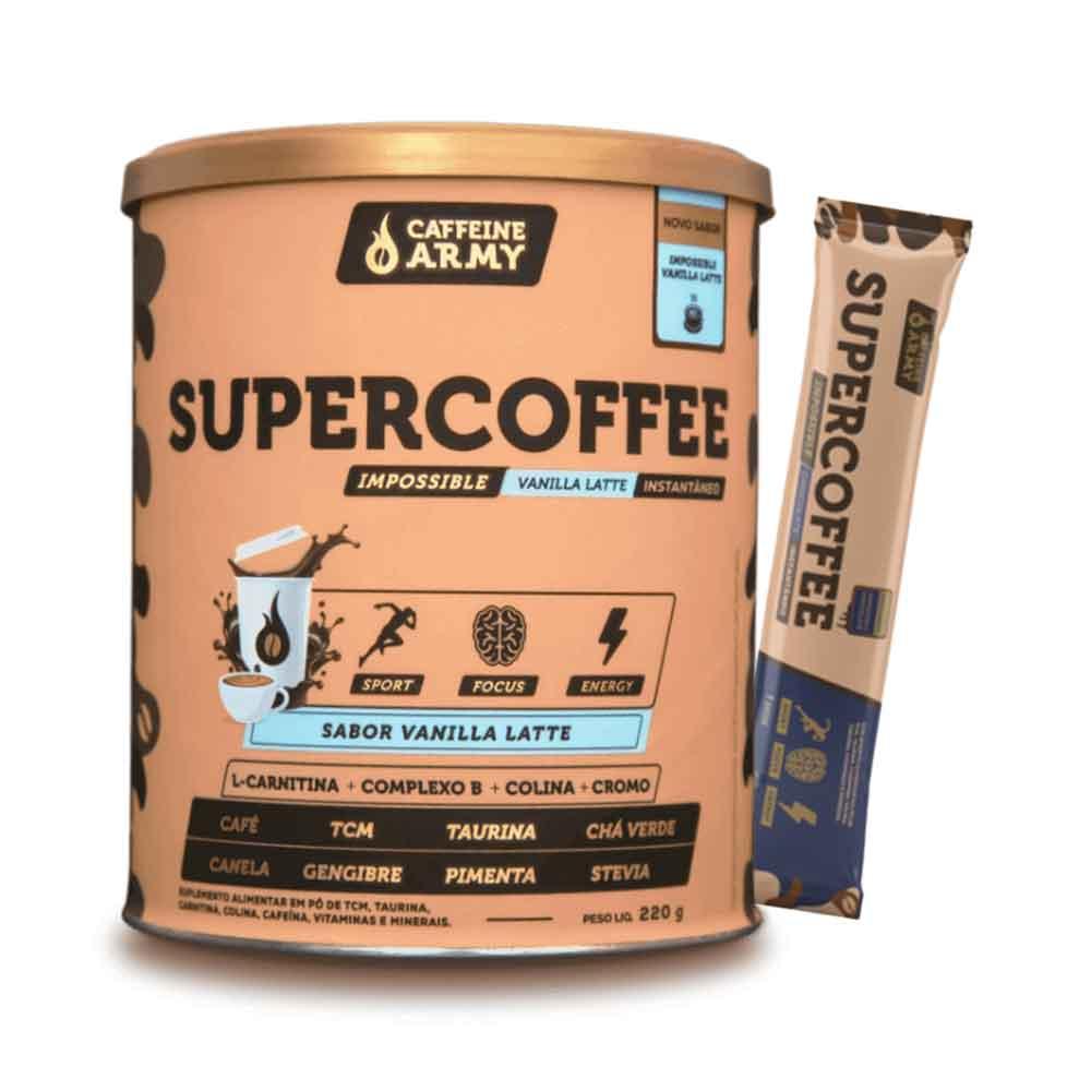 Supercoffee Vanilla Latte 220g - Caffeinearmy e 1 Sachê de Supercoffee To Go Impossible Chocolate  - KFit Nutrition