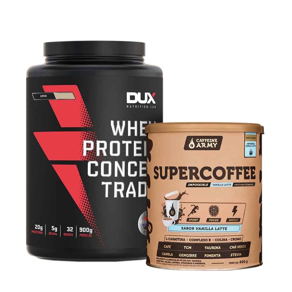 Supercoffee Vanilla Latte 220g e Whey Concentrado Dux Coco 900g  - KFit Nutrition