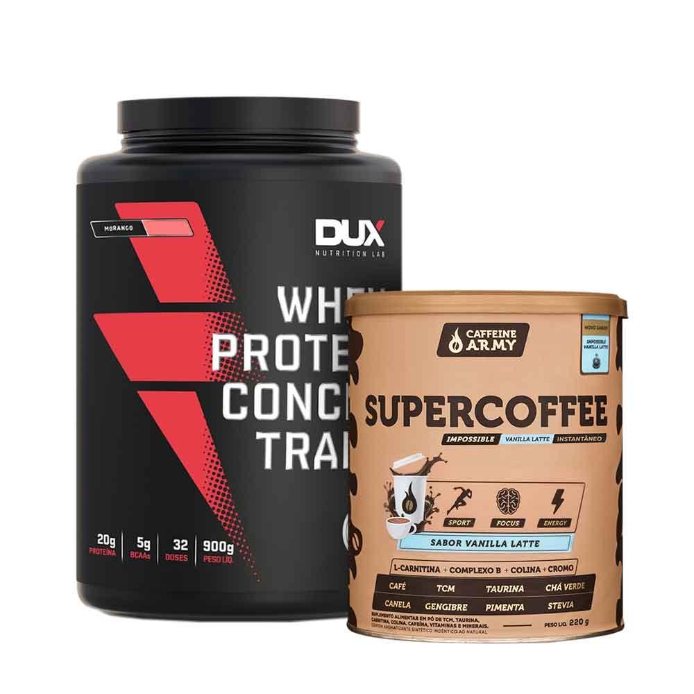 Supercoffee  Vanilla Latte 220g e Whey Concentrado Dux Morango 900g  - KFit Nutrition