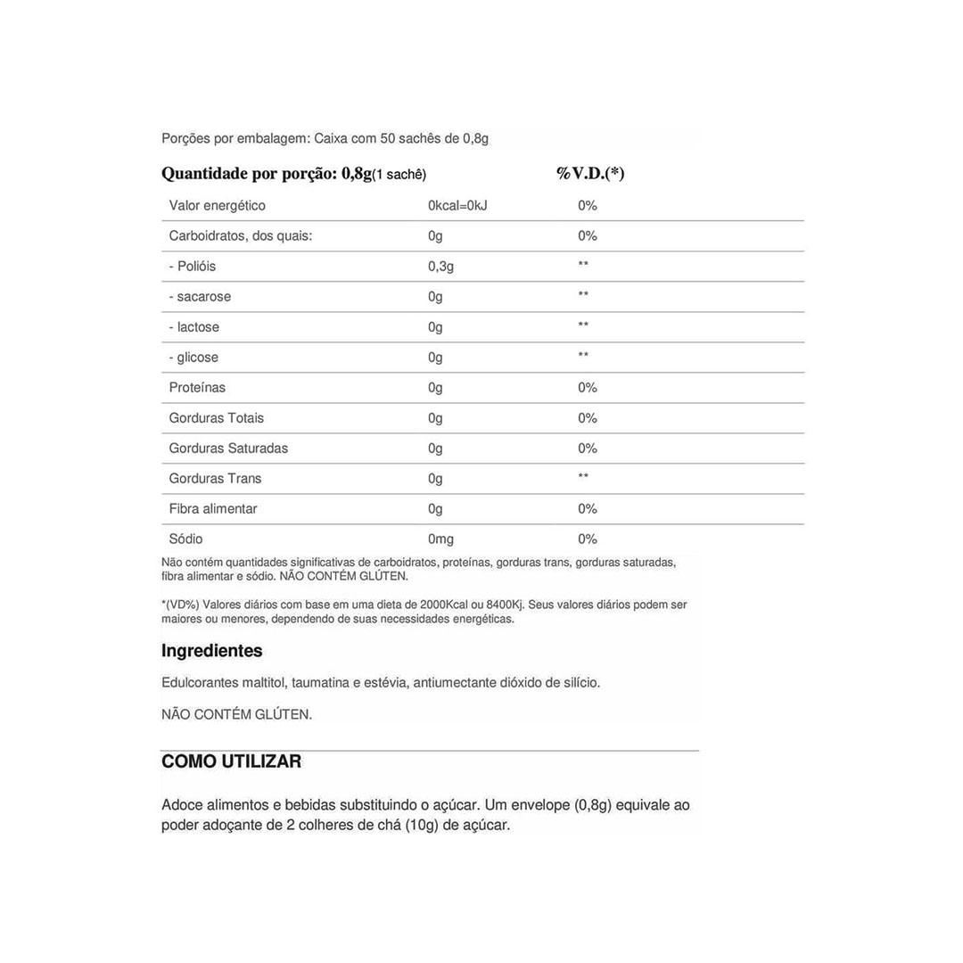 Sweetlift 40g 50 Sachês de 0,8g - Adoçante Essential Nutrition  - KFit Nutrition