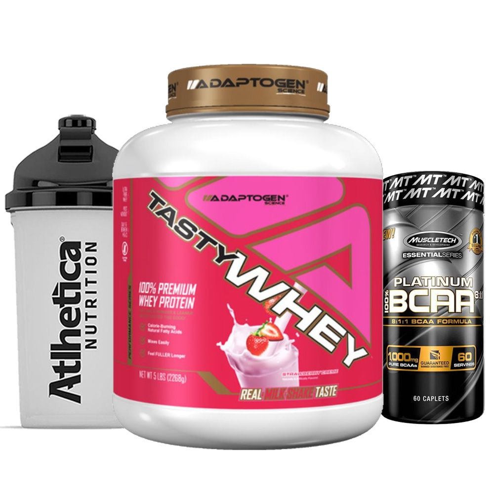 Tast Whey 5 LB Strawberry  + Bcaa Platinum 60 Caps + Bottle  - KFit Nutrition