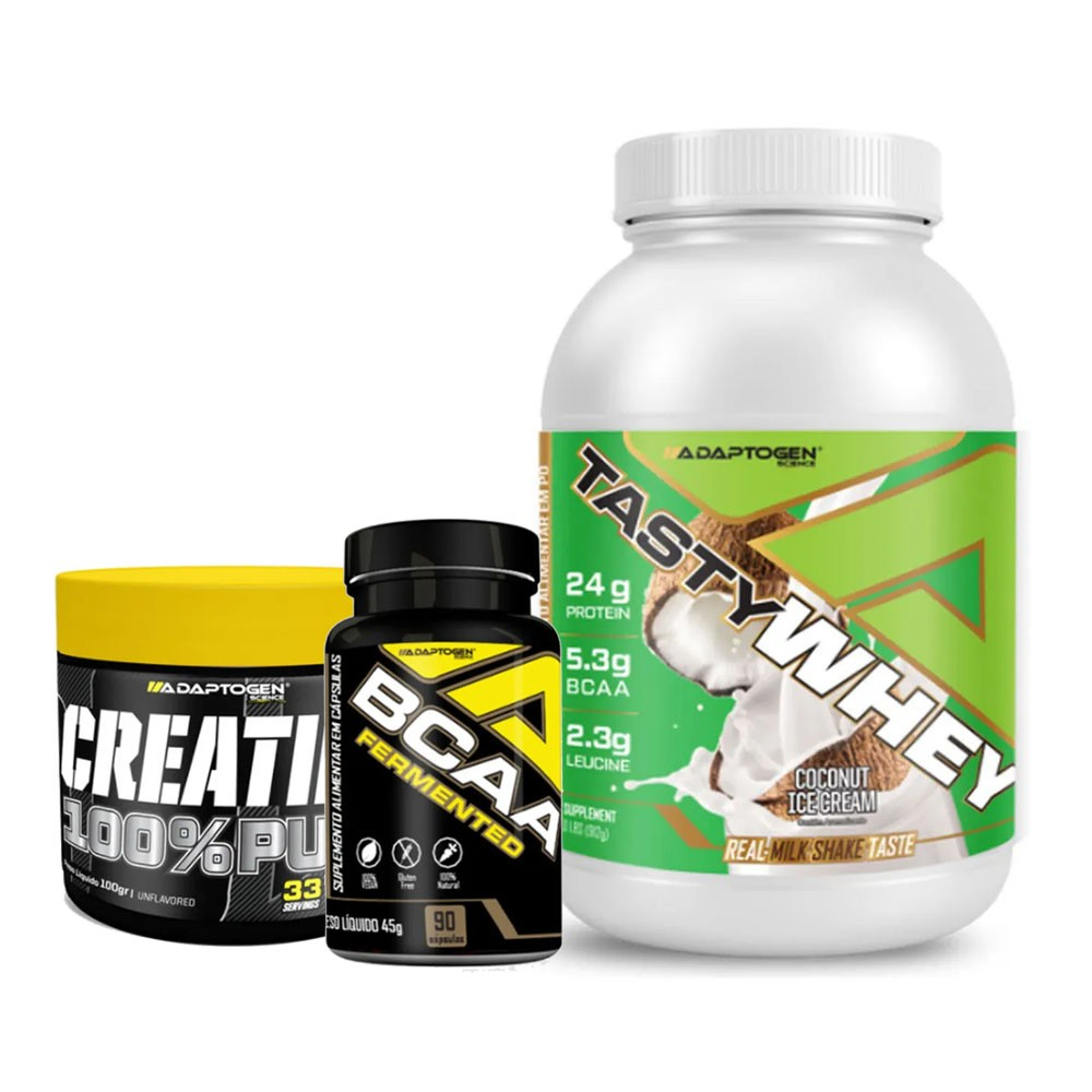 Tasty Coconut 900g + Bcaa 90 Caps + Creatina 100g  - KFit Nutrition
