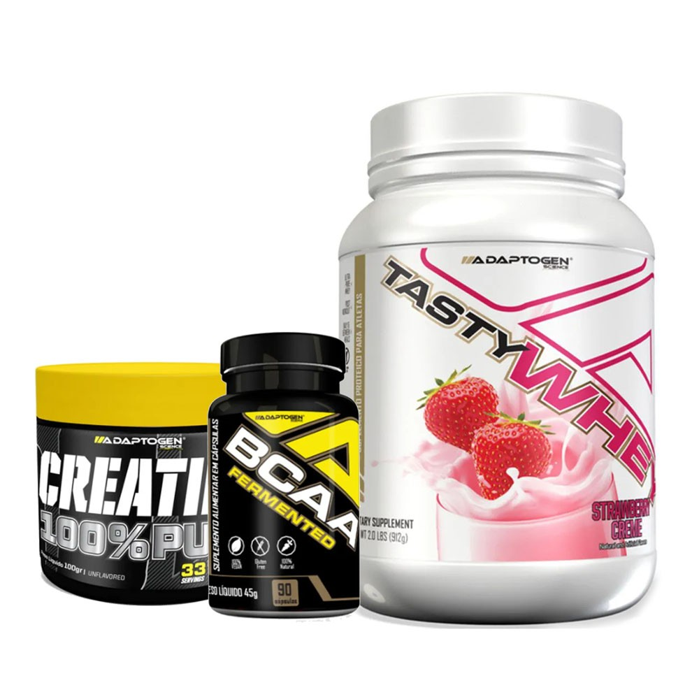 Tasty Strawberry 900g + Bcaa 90 Caps + Creatina 100g  - KFit Nutrition