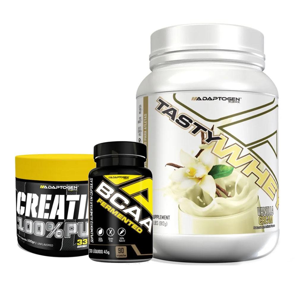 Tasty Vanilla 900g + Bcaa 90 Caps + Creatina 100g  - KFit Nutrition
