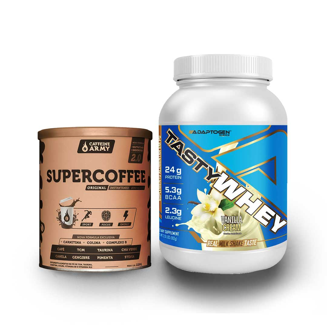 Tasty Whey 2 Lbs Baunilha + Supercoffee 220g  - KFit Nutrition